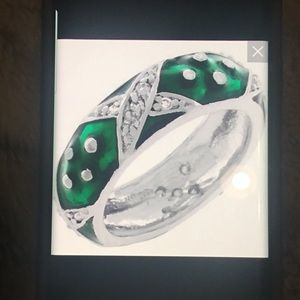"Jewelry - Green Enamel & CZ ""X"" Design Stack Band Ring"